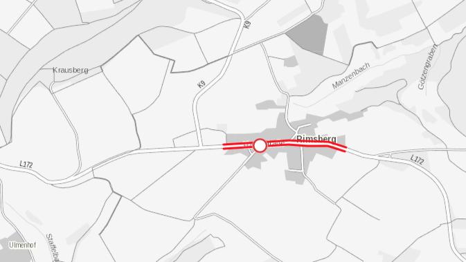 Eine Karte die zeigt, wo die STraße in Rimsberg gesperrt ist